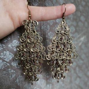 Jewelry - Antiqued gold chandelier earrings